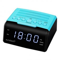RADIO-RÉVEIL SUNSTECH FRD35UBL LED 0.9 USB BLEU